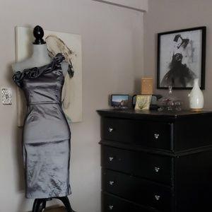 Gorgeous gunmetal one shoulder midi dress